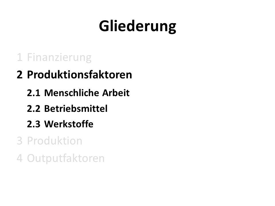 Gliederung 1 Finanzierung Produktionsfaktoren 2.1 Menschliche Arbeit