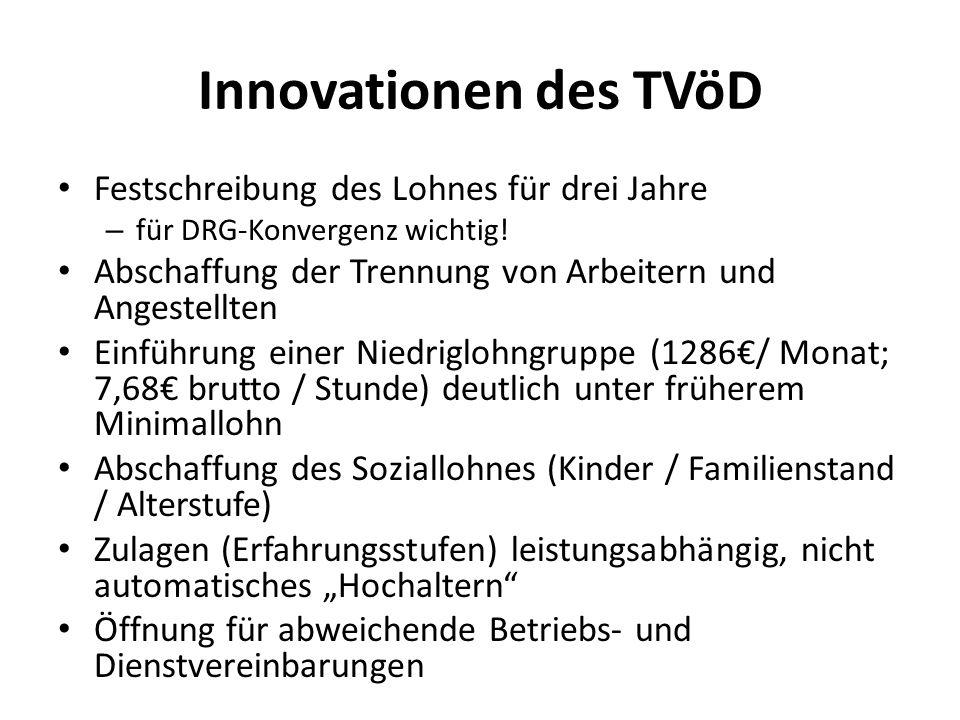 Innovationen des TVöD Festschreibung des Lohnes für drei Jahre
