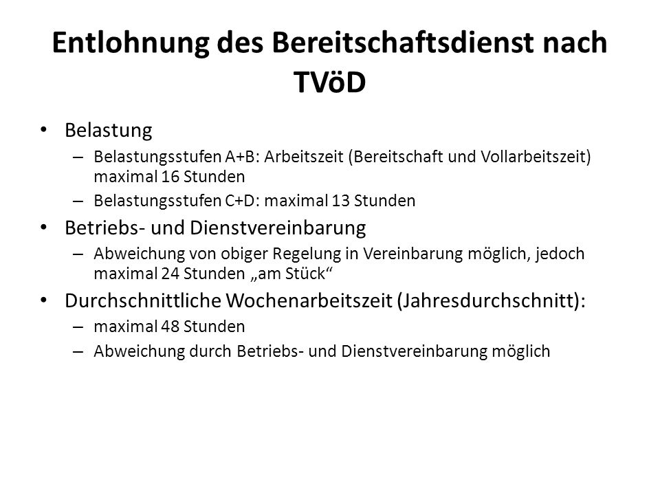 Entlohnung des Bereitschaftsdienst nach TVöD