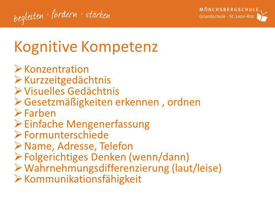 Kognitive Kompetenz Konzentration Kurzzeitgedächtnis