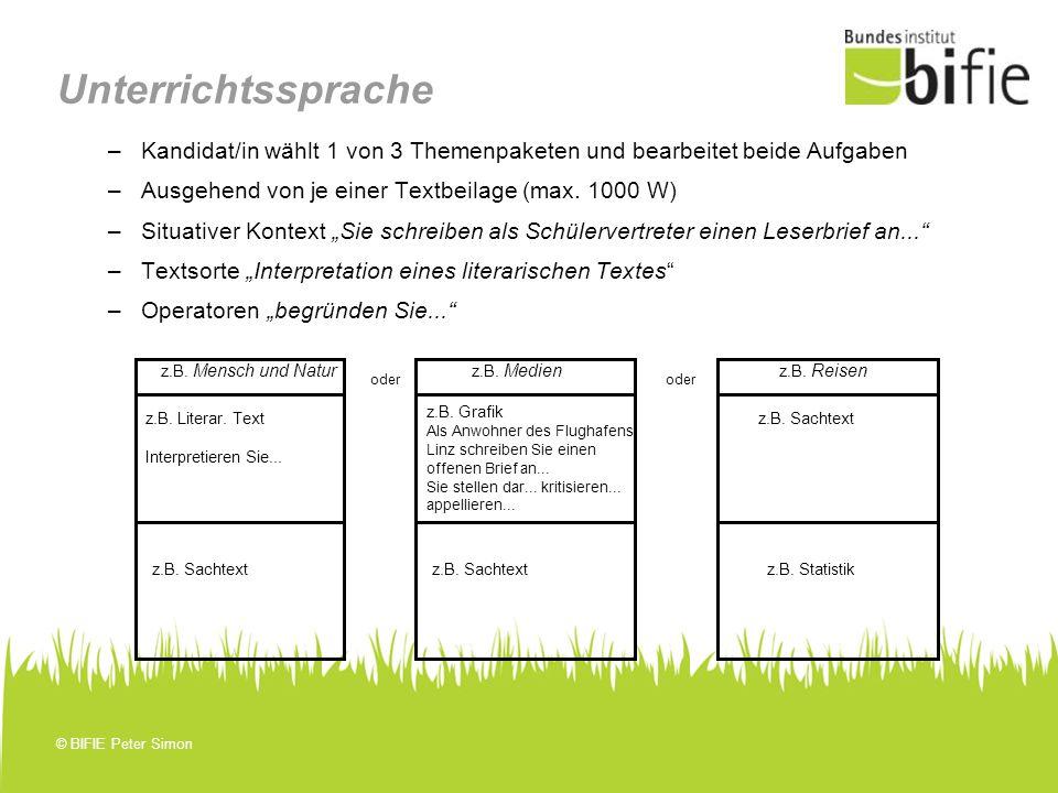 Unterrichtssprache Kandidat/in wählt 1 von 3 Themenpaketen und bearbeitet beide Aufgaben. Ausgehend von je einer Textbeilage (max. 1000 W)