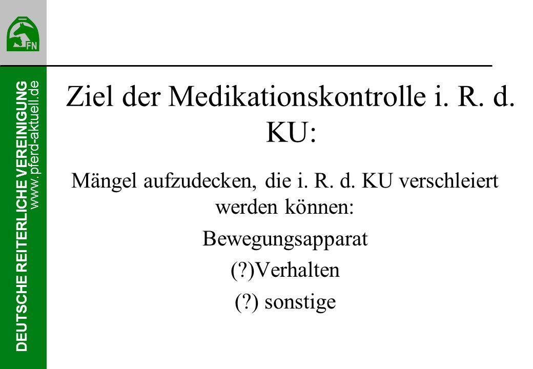 Ziel der Medikationskontrolle i. R. d. KU: