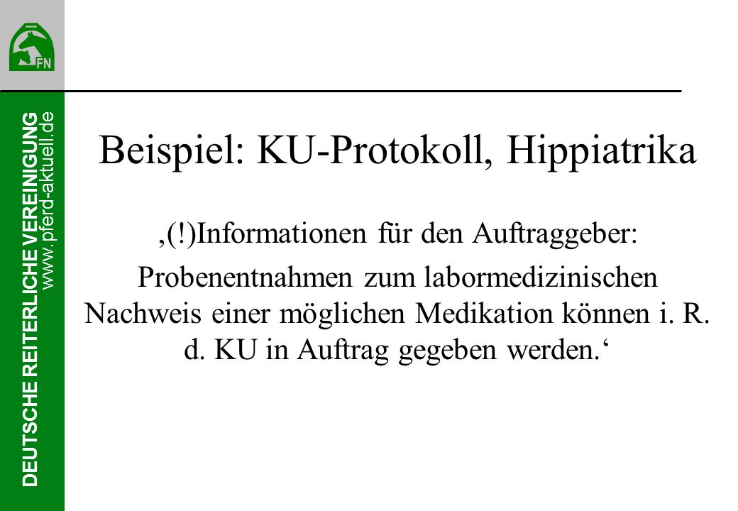 Beispiel: KU-Protokoll, Hippiatrika