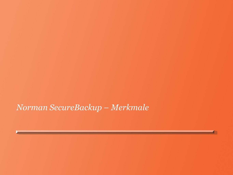 Norman SecureBackup – Merkmale