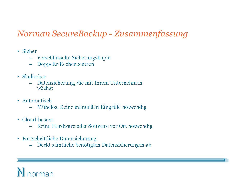 Norman SecureBackup - Zusammenfassung