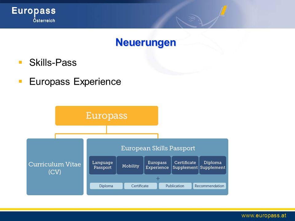 Neuerungen Skills-Pass Europass Experience www.europass.at
