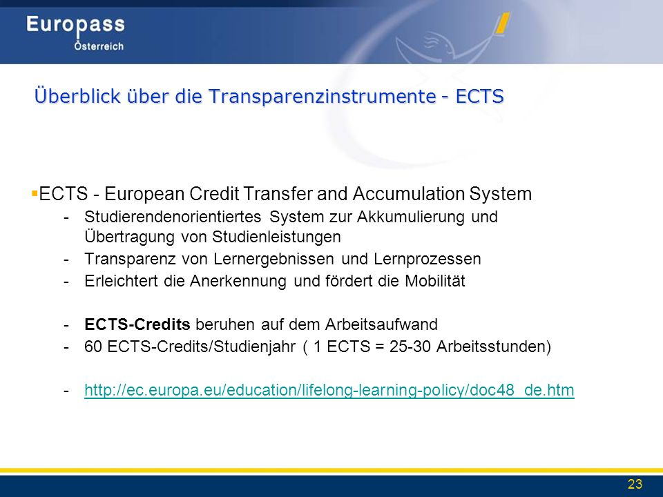 Überblick über die Transparenzinstrumente - ECTS