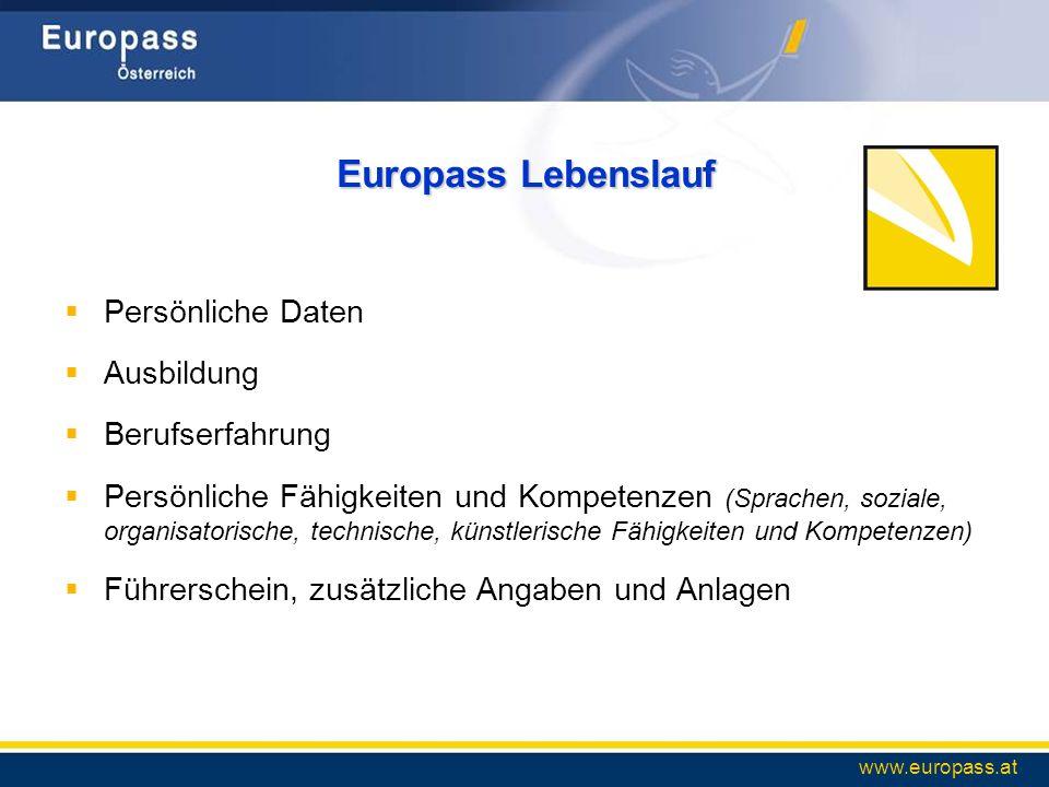 Europass Lebenslauf Persönliche Daten Ausbildung Berufserfahrung