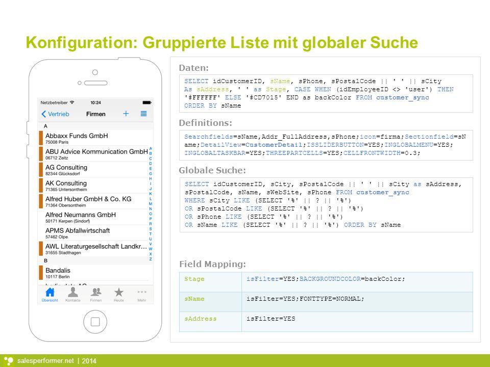 Konfiguration: Gruppierte Liste mit globaler Suche