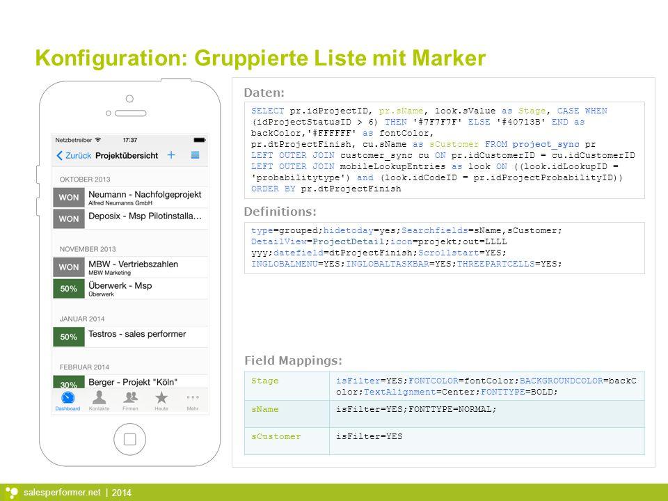 Konfiguration: Gruppierte Liste mit Marker