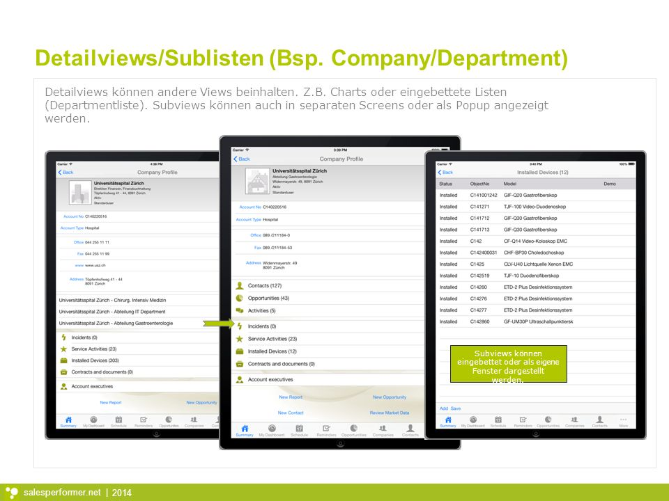 Detailviews/Sublisten (Bsp. Company/Department)