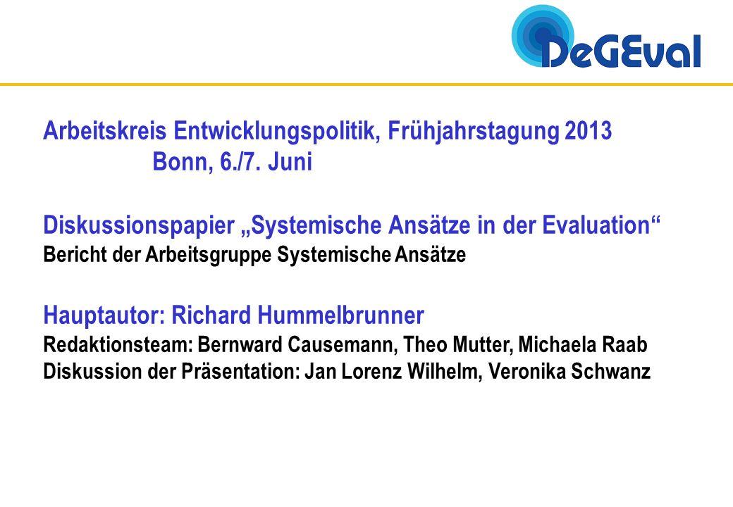 Arbeitskreis Entwicklungspolitik, Frühjahrstagung 2013