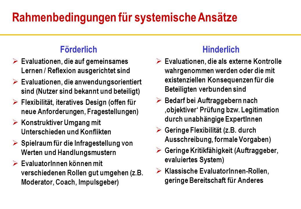 Rahmenbedingungen für systemische Ansätze