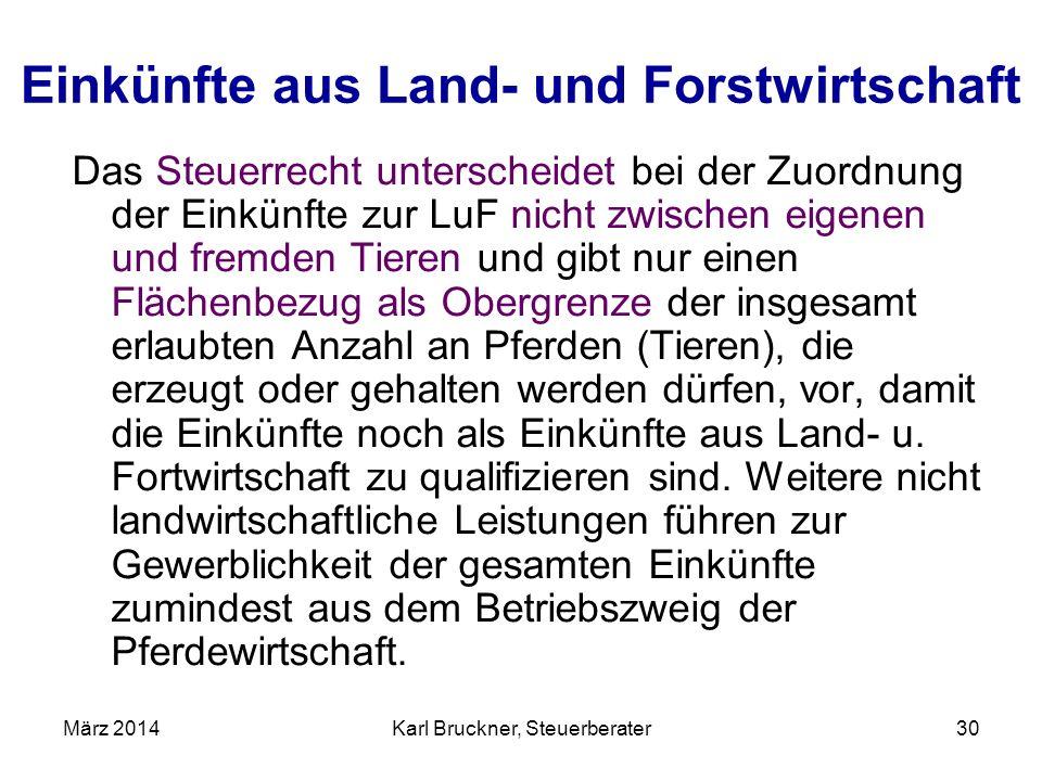 Einkünfte aus Land- und Forstwirtschaft