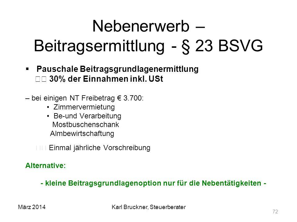 Nebenerwerb – Beitragsermittlung - § 23 BSVG