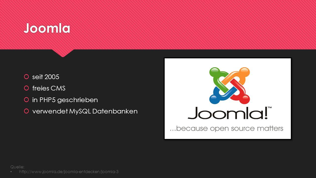 Joomla seit 2005 freies CMS in PHP5 geschrieben