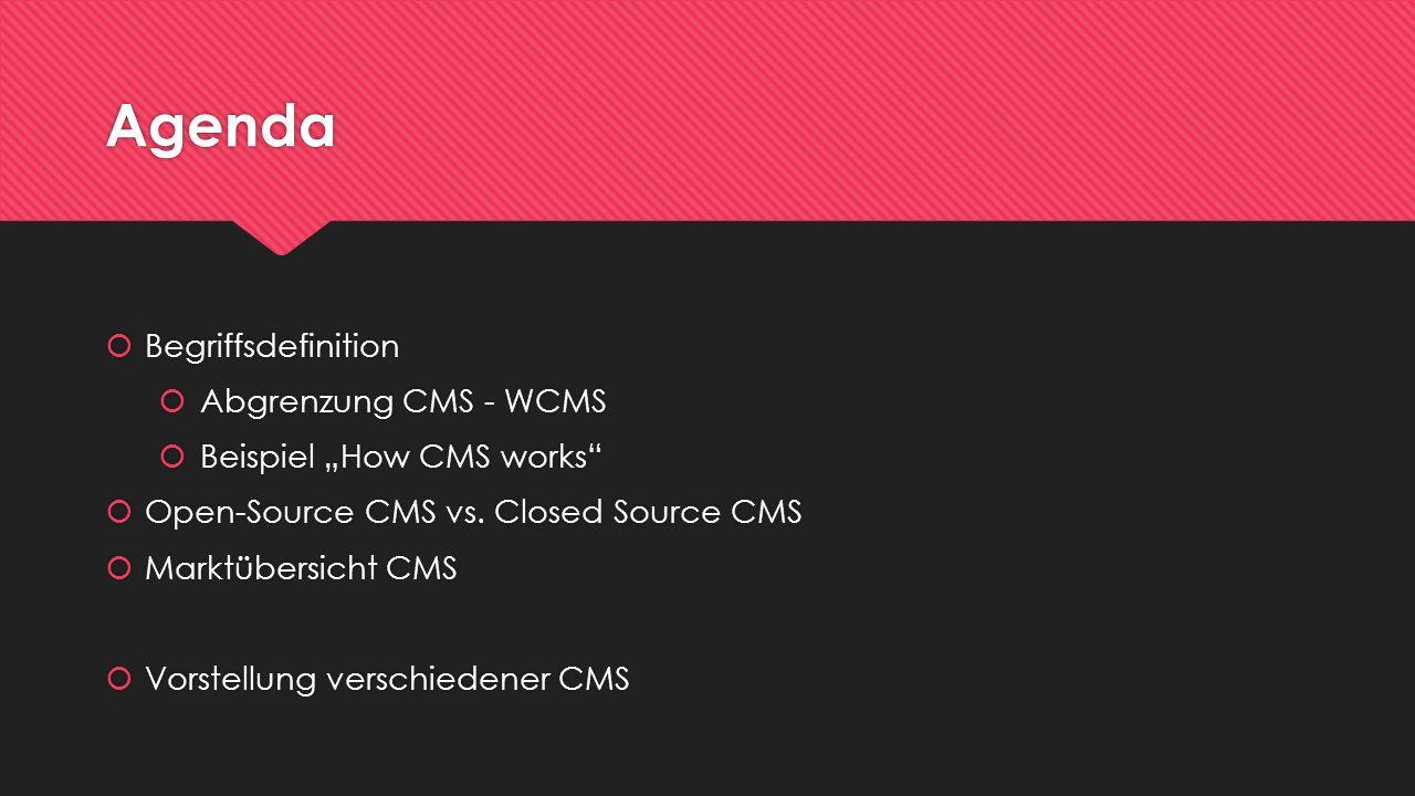 Agenda Begriffsdefinition Abgrenzung CMS - WCMS