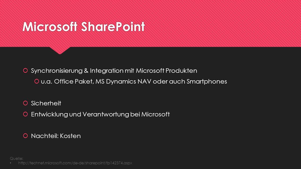 Microsoft SharePoint Synchronisierung & Integration mit Microsoft Produkten. u.a. Office Paket, MS Dynamics NAV oder auch Smartphones.