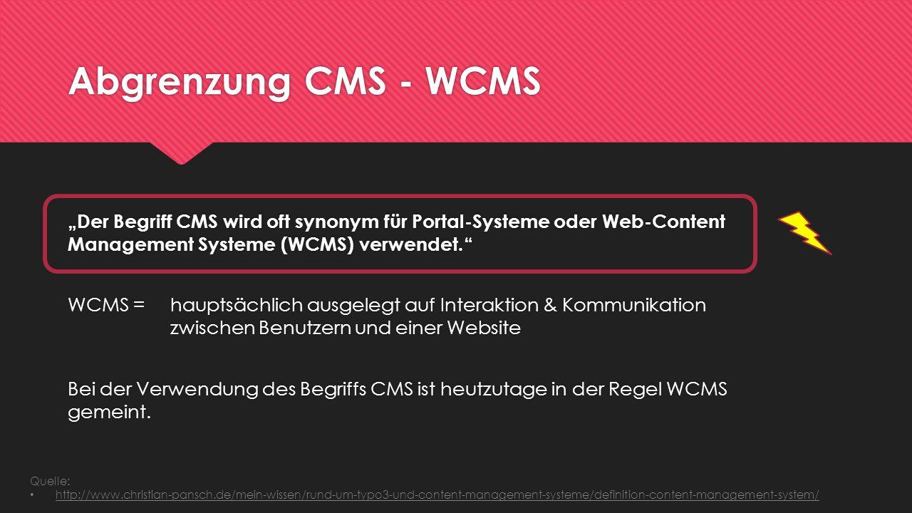 Abgrenzung CMS - WCMS
