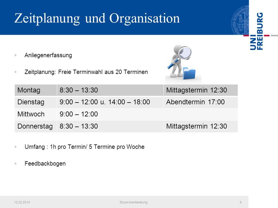 Zeitplanung und Organisation