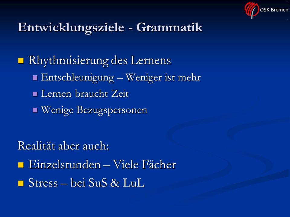 Entwicklungsziele - Grammatik