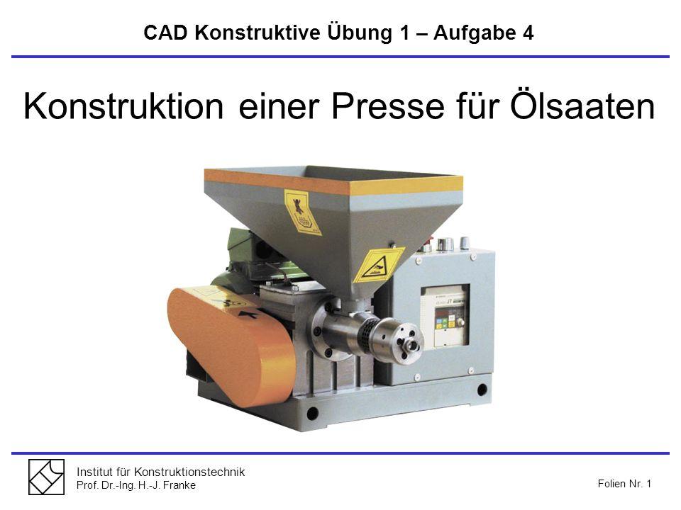 Konstruktion einer Presse für Ölsaaten