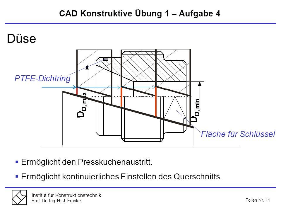 Düse CAD Konstruktive Übung 1 – Aufgabe 4 PTFE-Dichtring