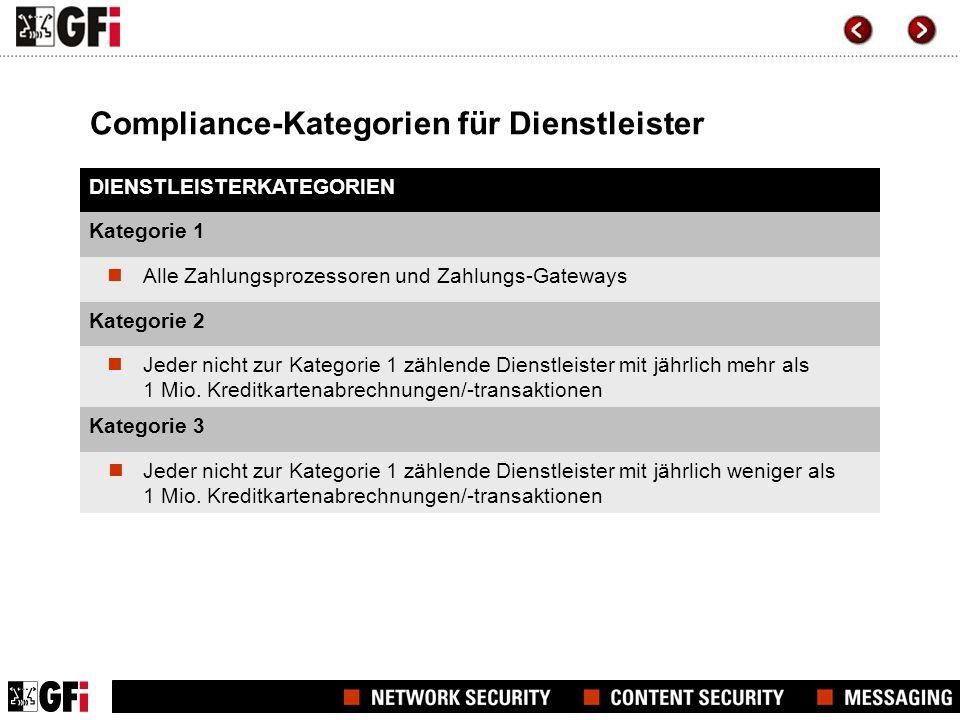 Compliance-Kategorien für Dienstleister