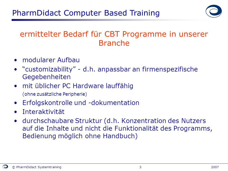 ermittelter Bedarf für CBT Programme in unserer Branche