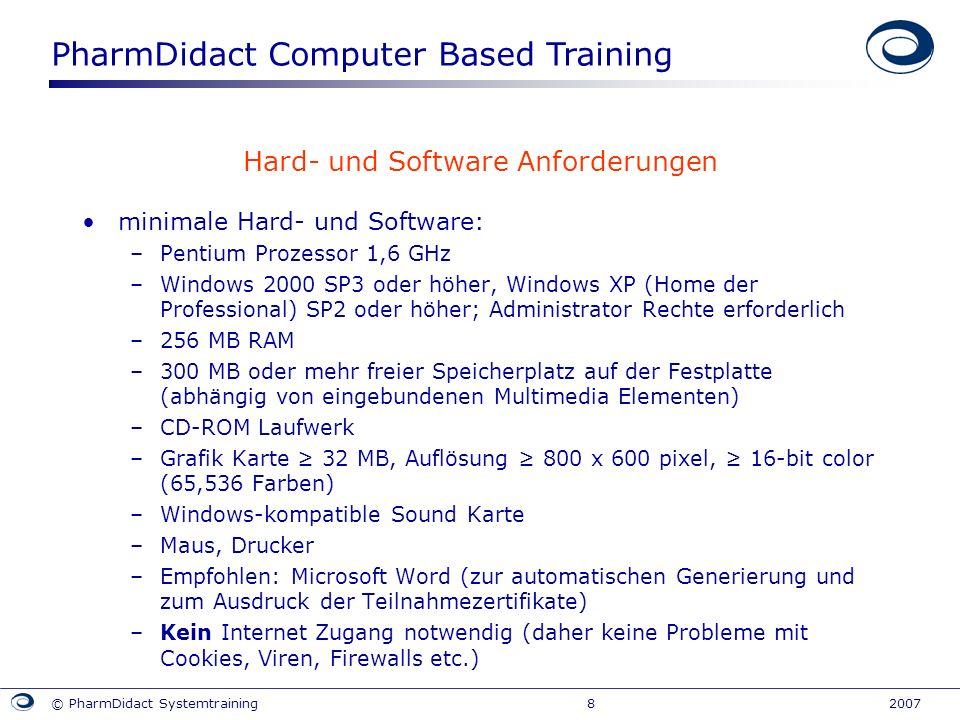 Hard- und Software Anforderungen