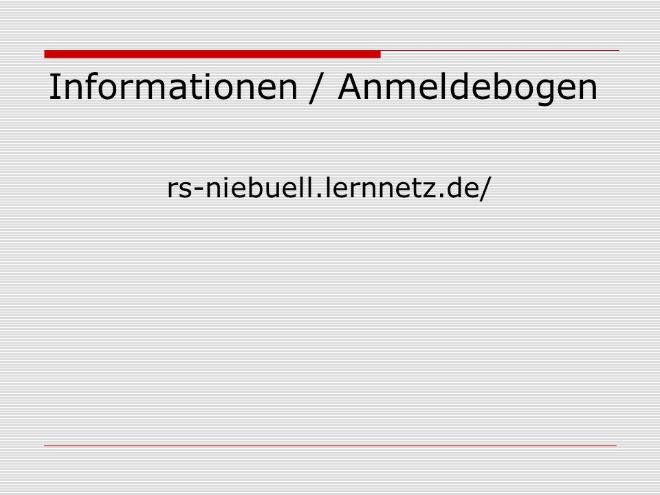 Informationen / Anmeldebogen