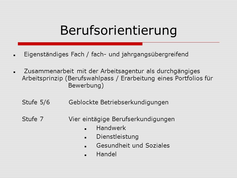 Berufsorientierung Eigenständiges Fach / fach- und jahrgangsübergreifend.