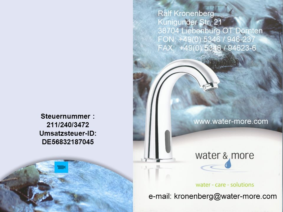 Steuernummer : 211/240/3472 Umsatzsteuer-ID: DE56832187045