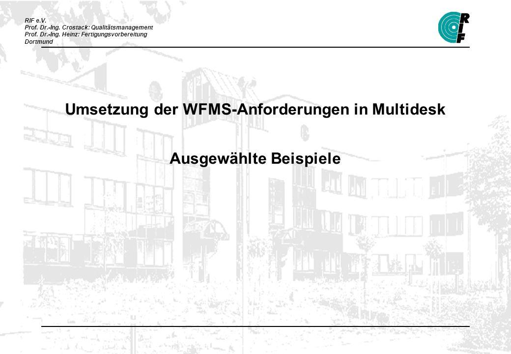 Umsetzung der WFMS-Anforderungen in Multidesk Ausgewählte Beispiele