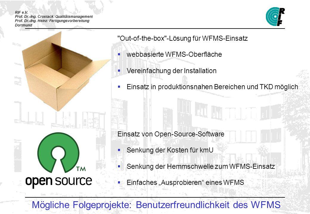 Mögliche Folgeprojekte: Benutzerfreundlichkeit des WFMS