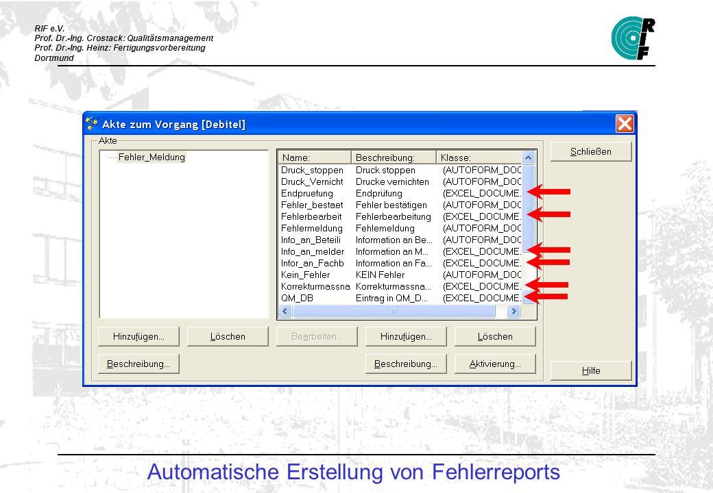Automatische Erstellung von Fehlerreports