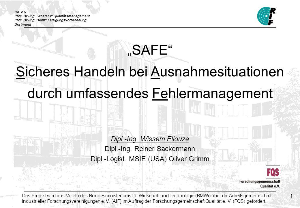 """""""SAFE Sicheres Handeln bei Ausnahmesituationen durch umfassendes Fehlermanagement"""