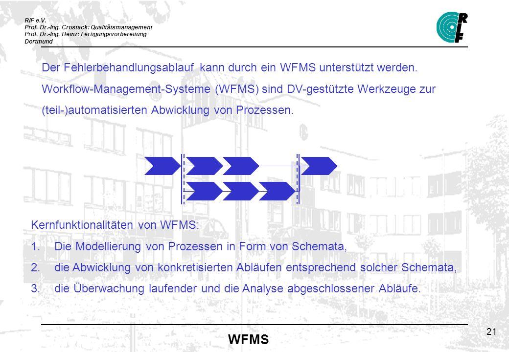 Der Fehlerbehandlungsablauf kann durch ein WFMS unterstützt werden.