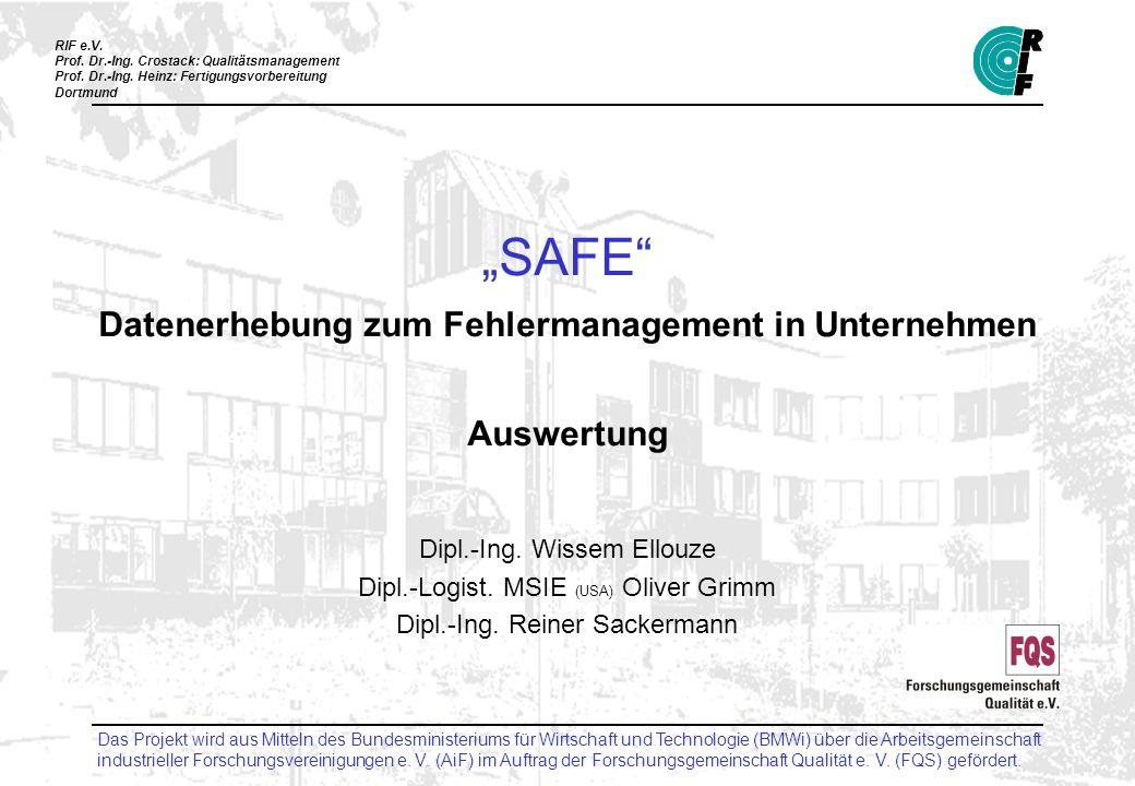 """""""SAFE Datenerhebung zum Fehlermanagement in Unternehmen Auswertung"""
