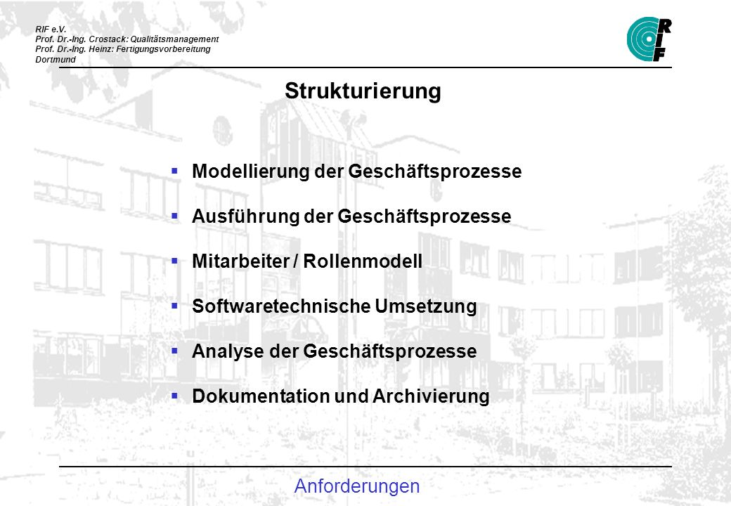 Strukturierung Modellierung der Geschäftsprozesse