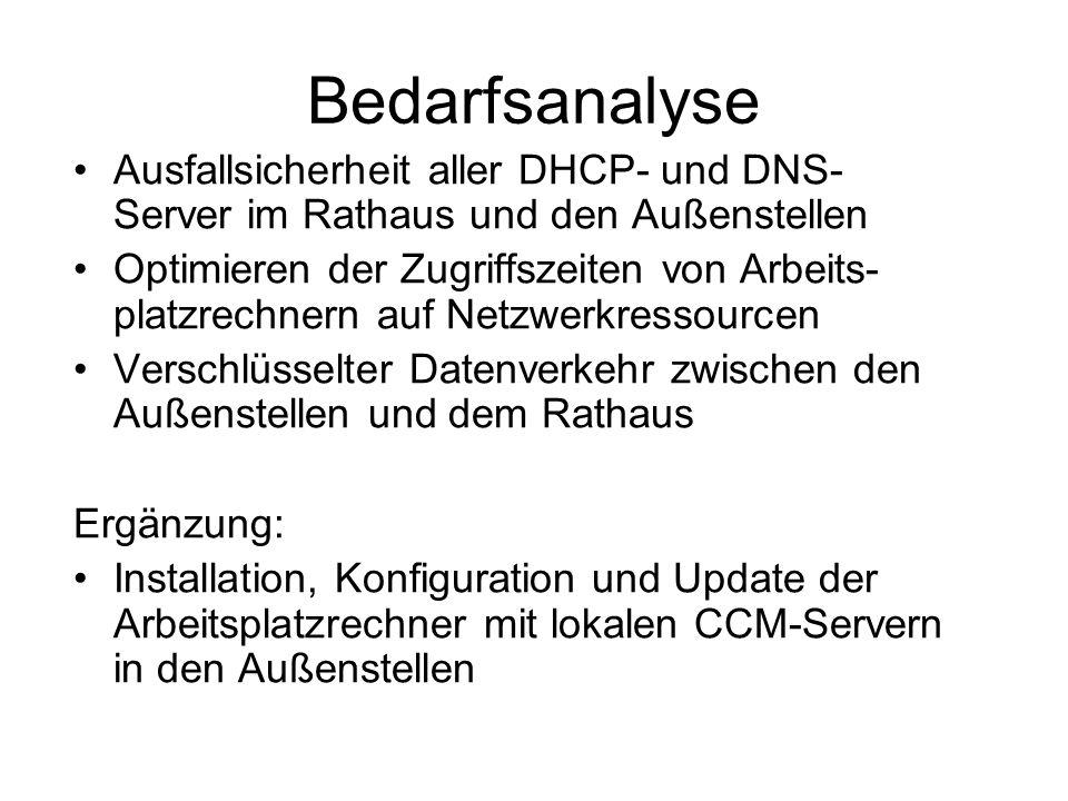 Bedarfsanalyse Ausfallsicherheit aller DHCP- und DNS- Server im Rathaus und den Außenstellen.
