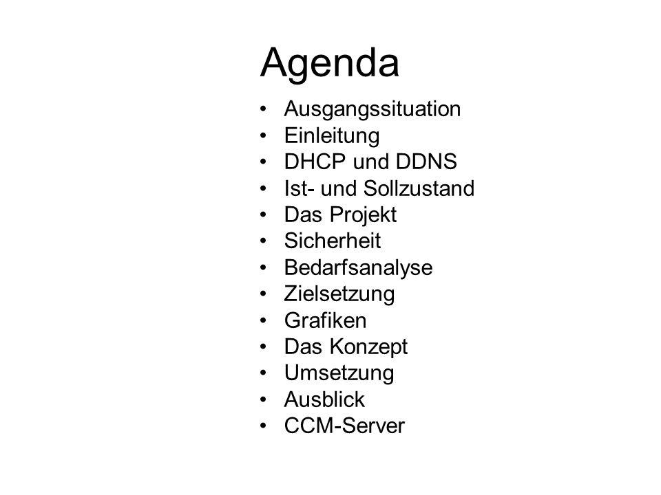 Agenda Ausgangssituation Einleitung DHCP und DDNS Ist- und Sollzustand