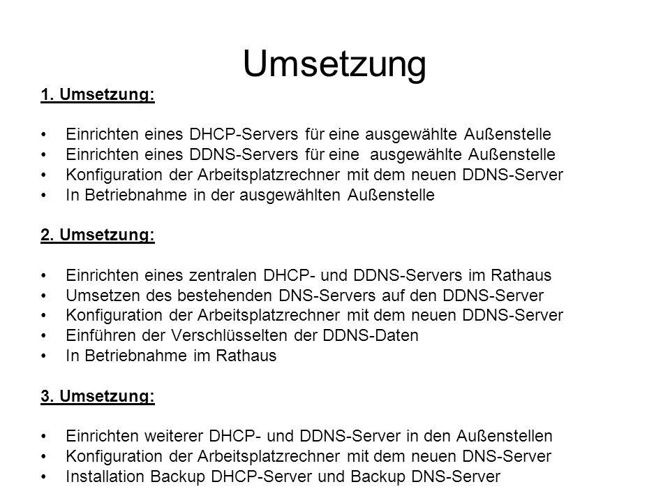 Umsetzung 1. Umsetzung: Einrichten eines DHCP-Servers für eine ausgewählte Außenstelle.