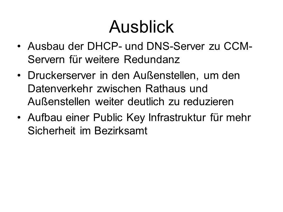 Ausblick Ausbau der DHCP- und DNS-Server zu CCM-Servern für weitere Redundanz.