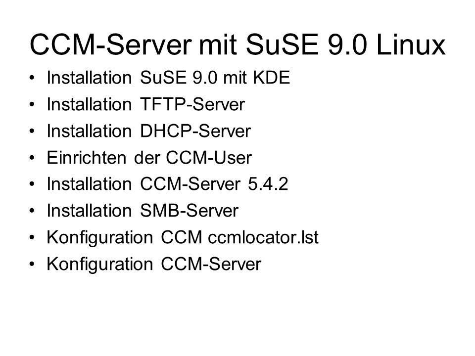 CCM-Server mit SuSE 9.0 Linux