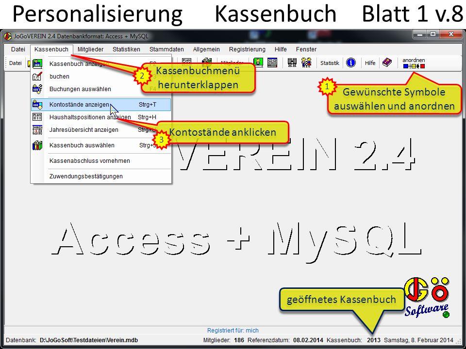 Personalisierung Kassenbuch Blatt 1 v.8