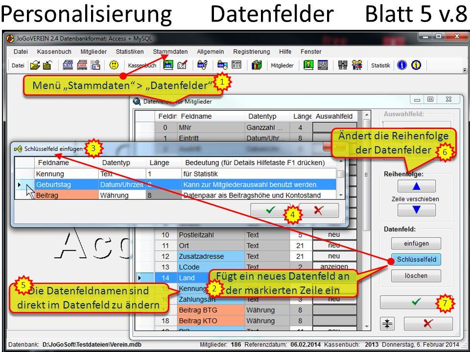 Personalisierung Datenfelder Blatt 5 v.8