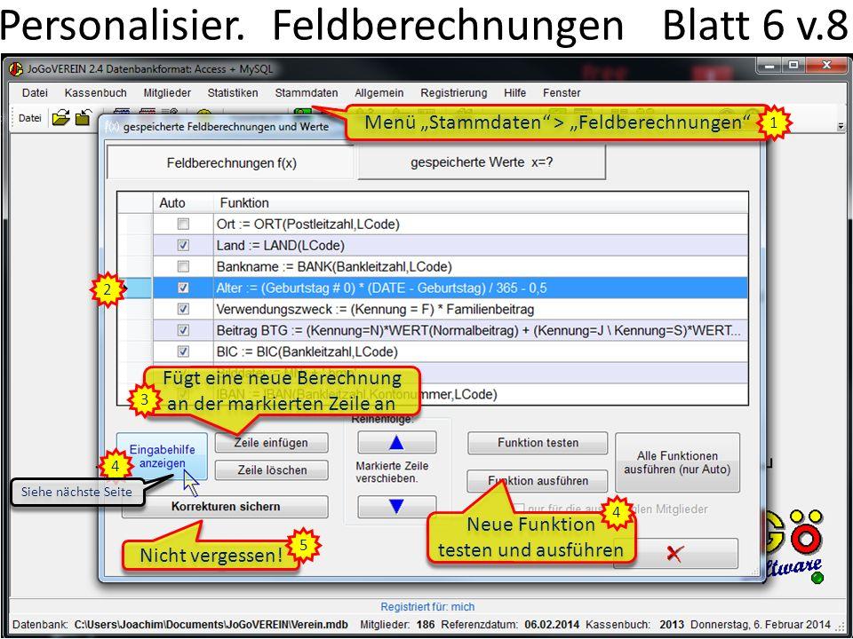 Personalisier. Feldberechnungen Blatt 6 v.8