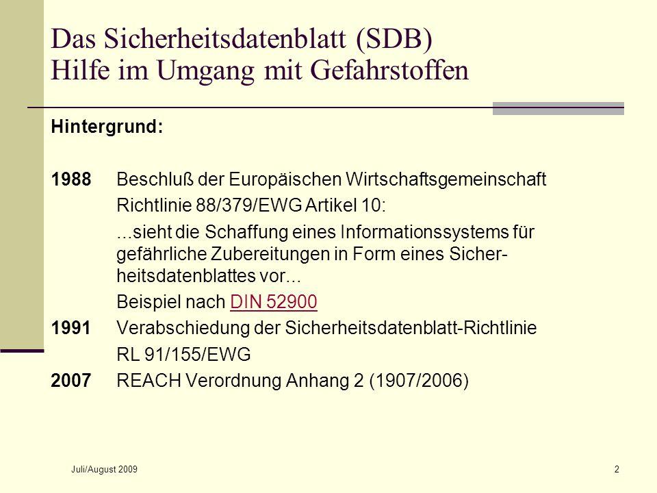 Das Sicherheitsdatenblatt (SDB) Hilfe im Umgang mit Gefahrstoffen
