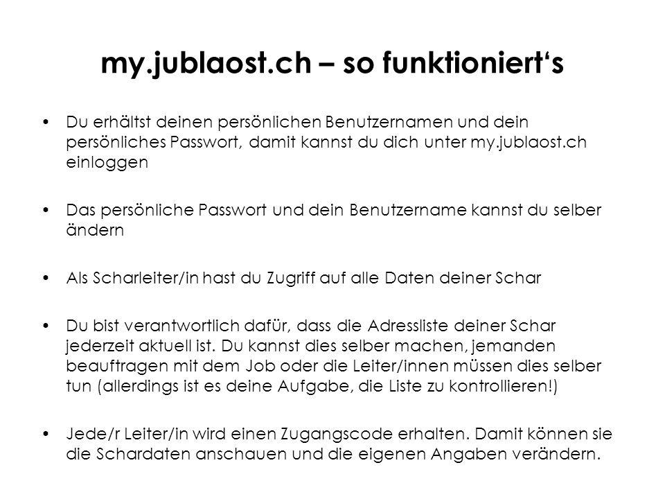 my.jublaost.ch – so funktioniert's